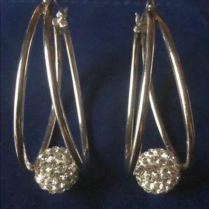 Jewelry - Silver plated glitterball hoop earrings